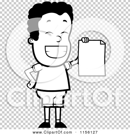 Cartoon Clipart Of A Black And White Proud Black Teen Boy