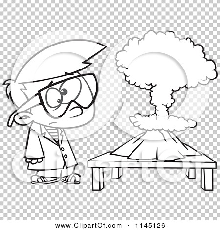 Cartoon Clipart Of A Black And White Scientist Boy with a