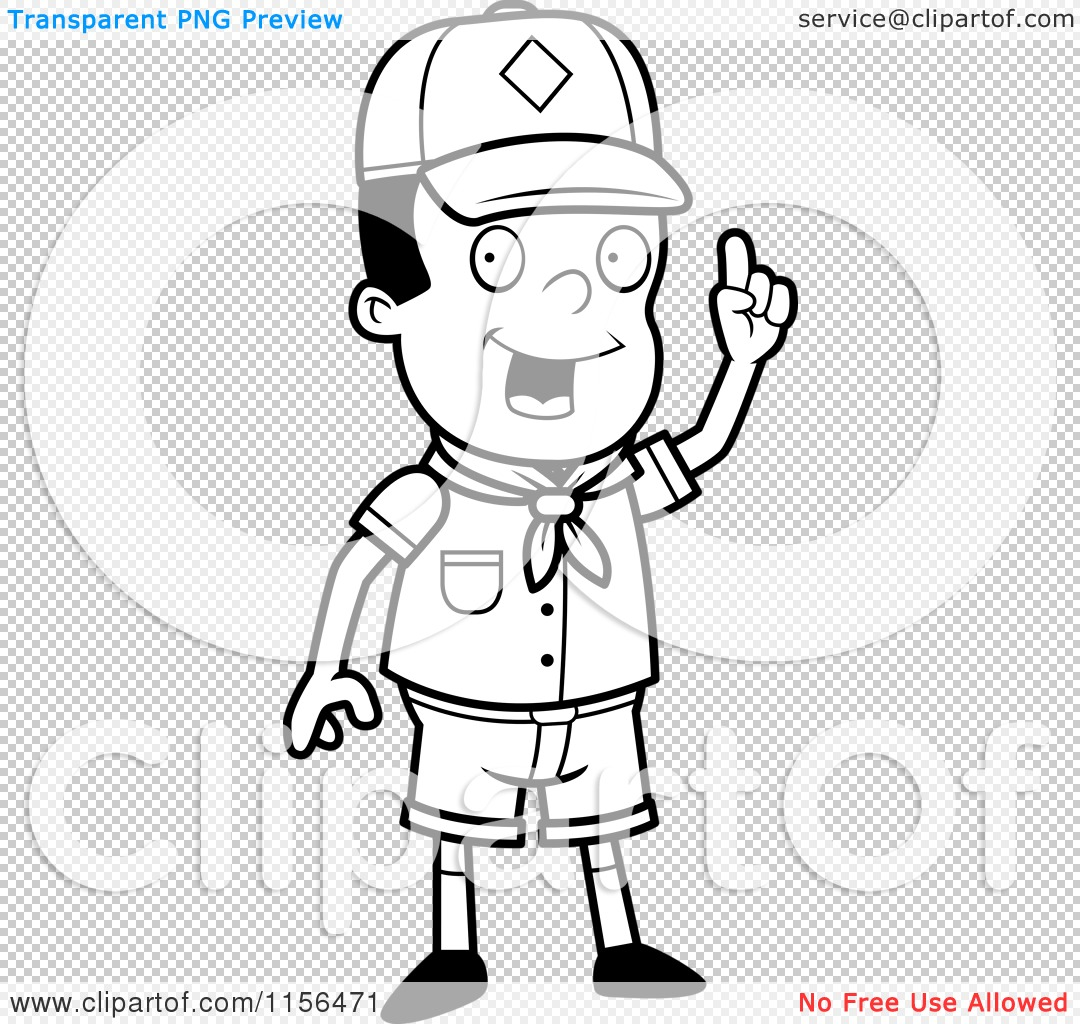 Cartoon Clipart Of A Black And White Smart Black Cub Scout
