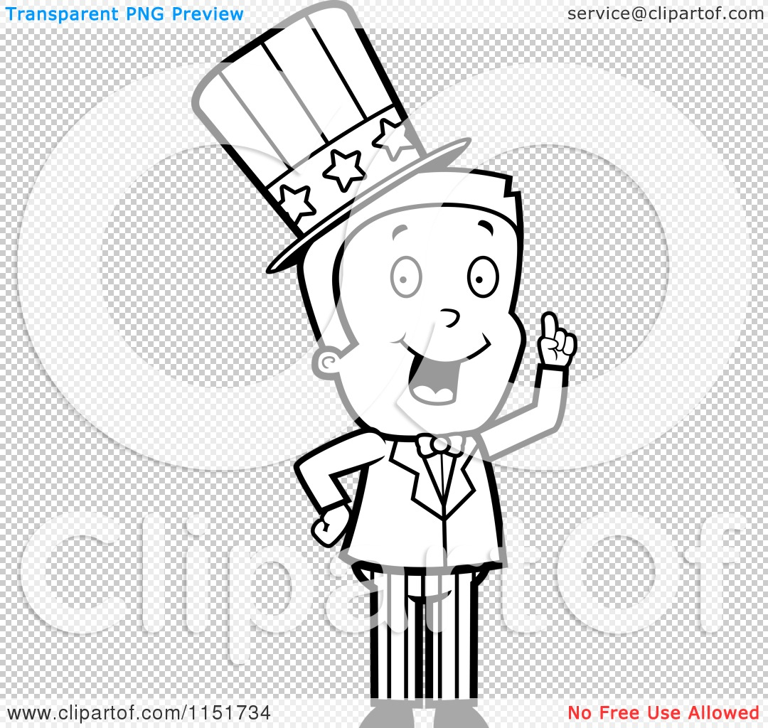 Cartoon Clipart Of A Black And White Uncle Sam Boy