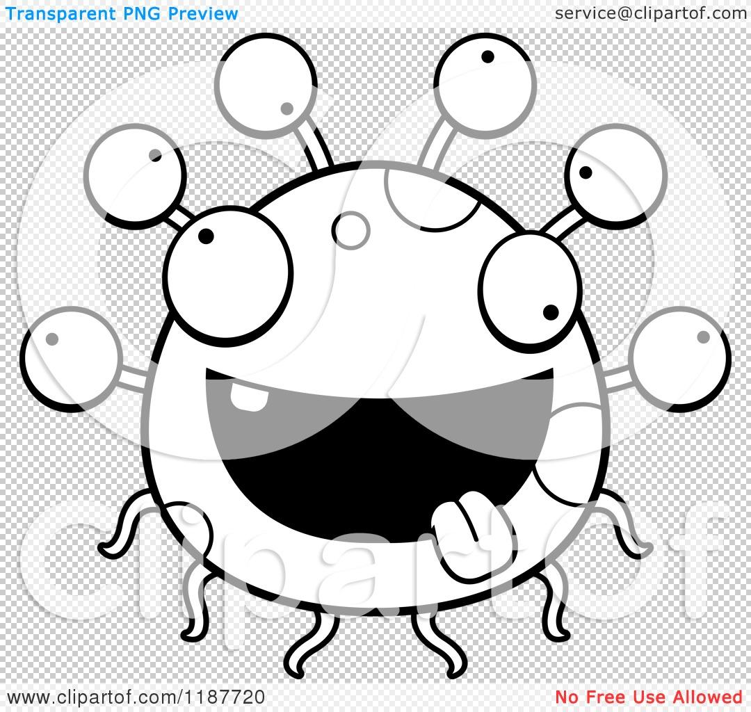 Cartoon Of A Black And White Crazy Eyeball Monster