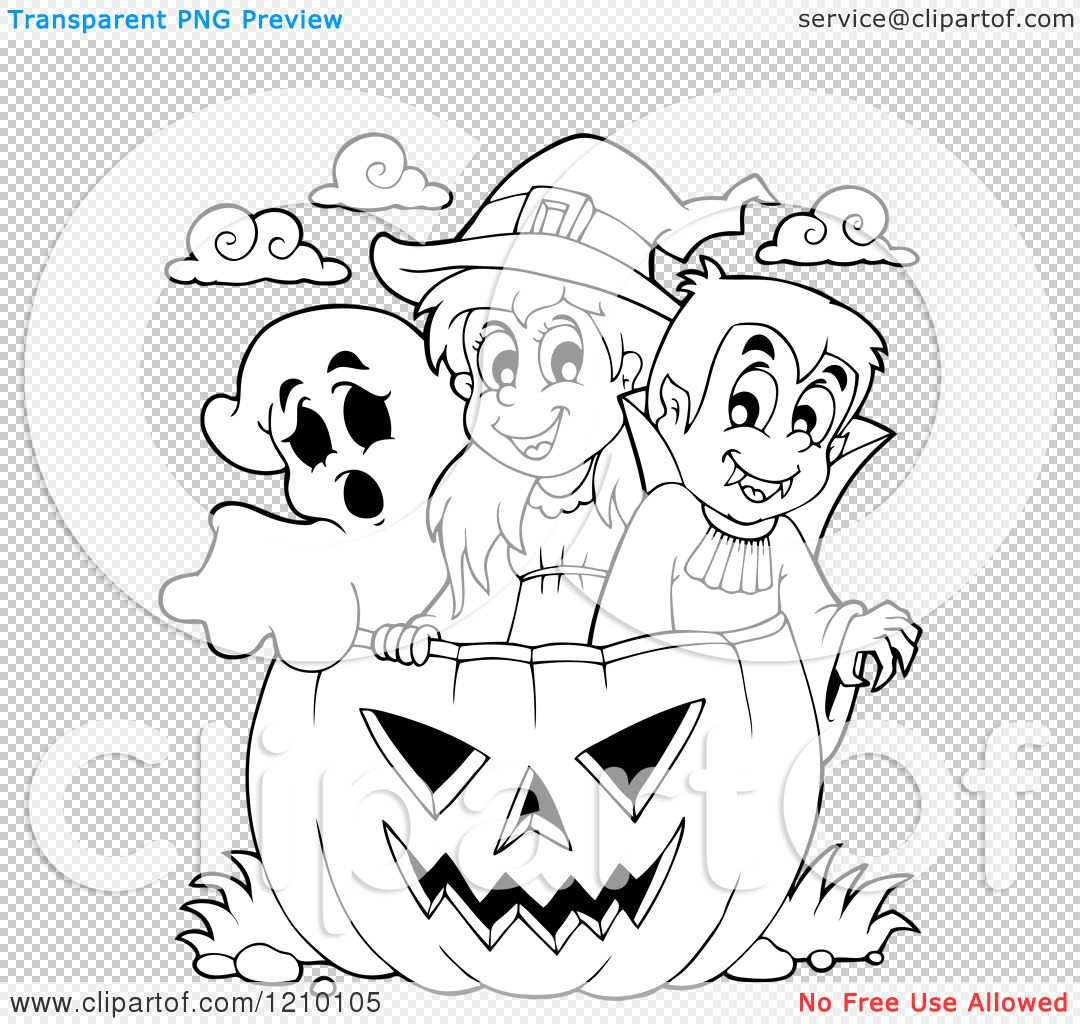 Cartoon Of A Black And White Halloween Girl Witch Boy