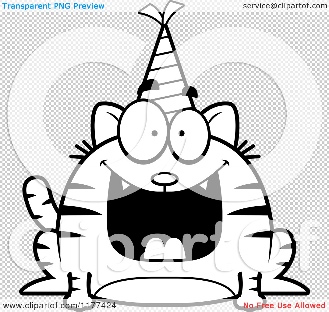 Cartoon Of A Black And White Happy Birthday Cat Wearing A