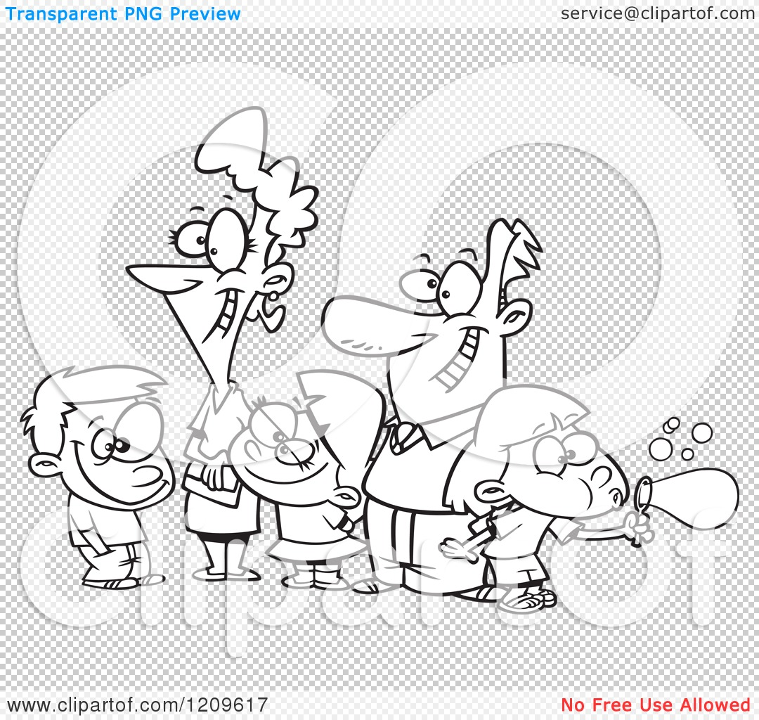Cartoon of a Black and White Happy Family of Five
