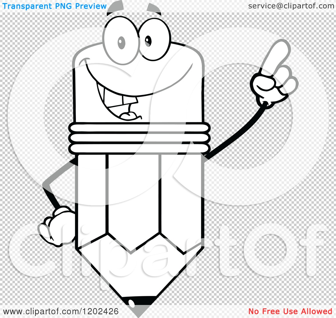 Cartoon of a Black and White Pencil Mascot Holding up a