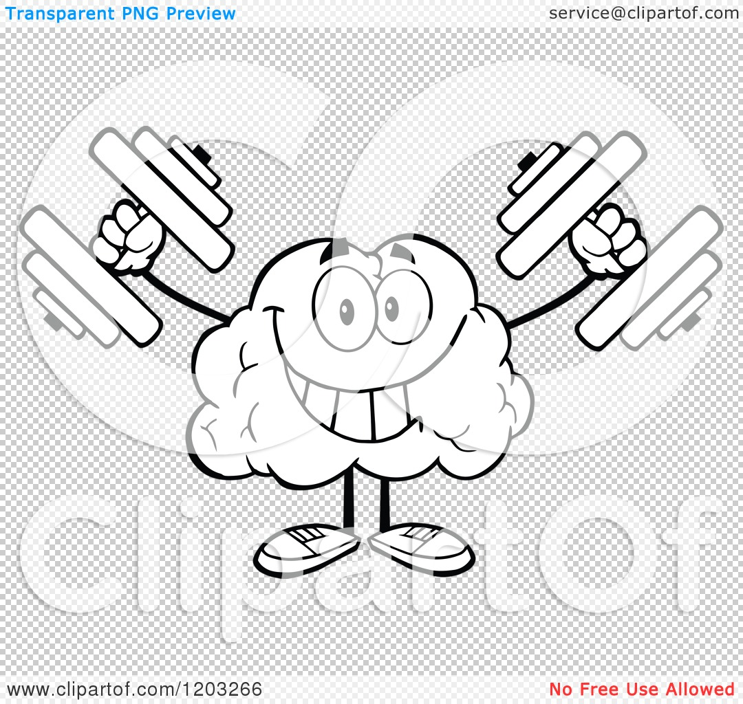 Cartoon of a Black and White Strong Brain Mascot Lifting