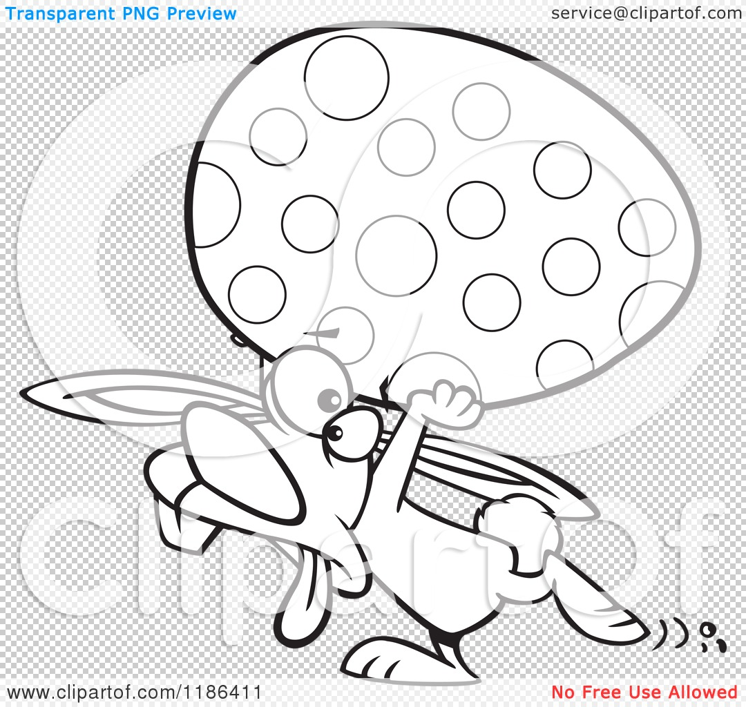 Cartoon Of A Black And White Tired Easter Bunny Carrying A