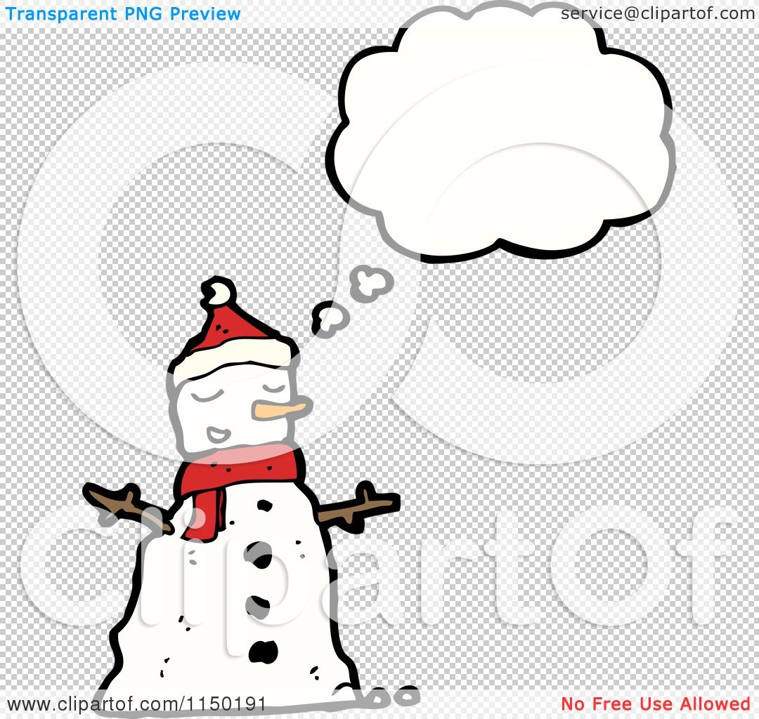 Cartoon Of A Thinking Christmas Snowman