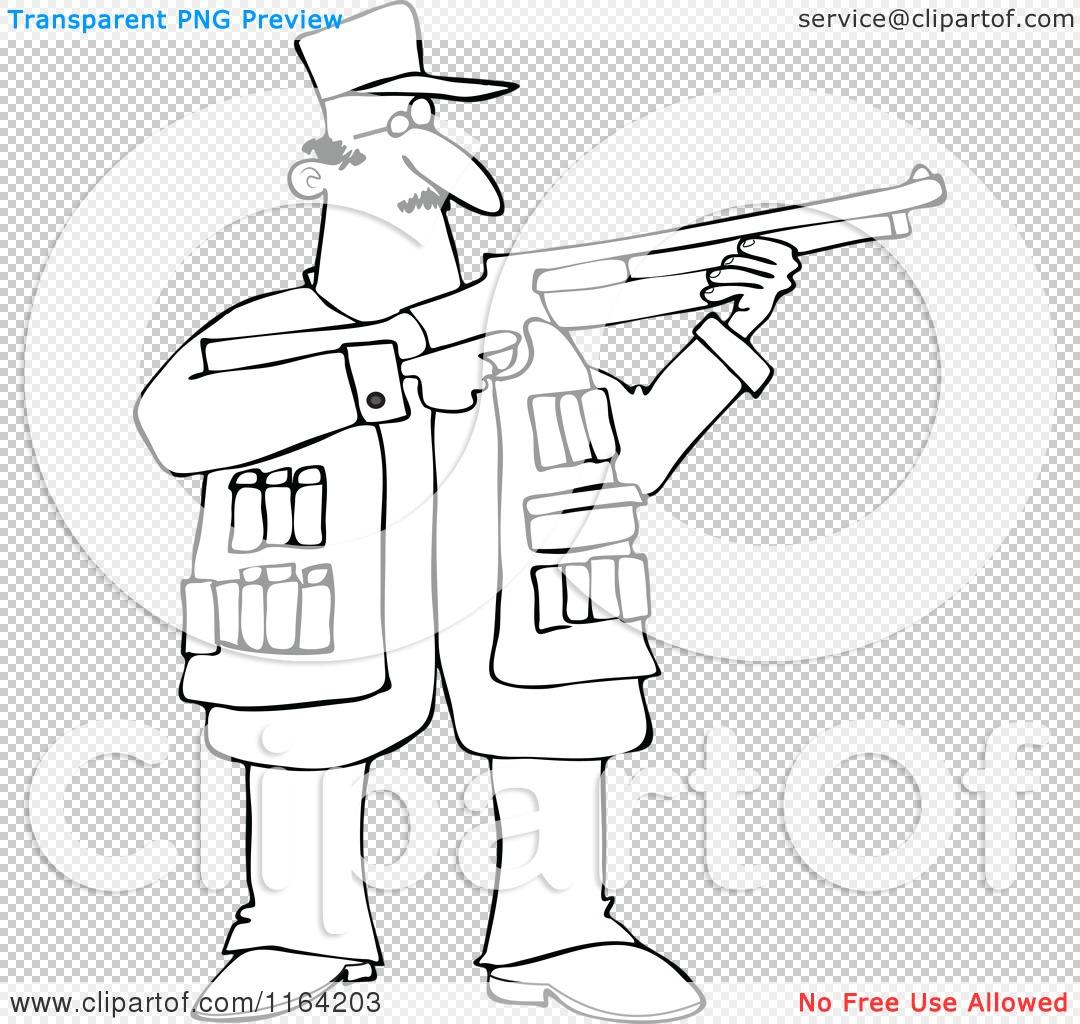 Cartoon Of An Outlined Hunting Man Using A Shotgun