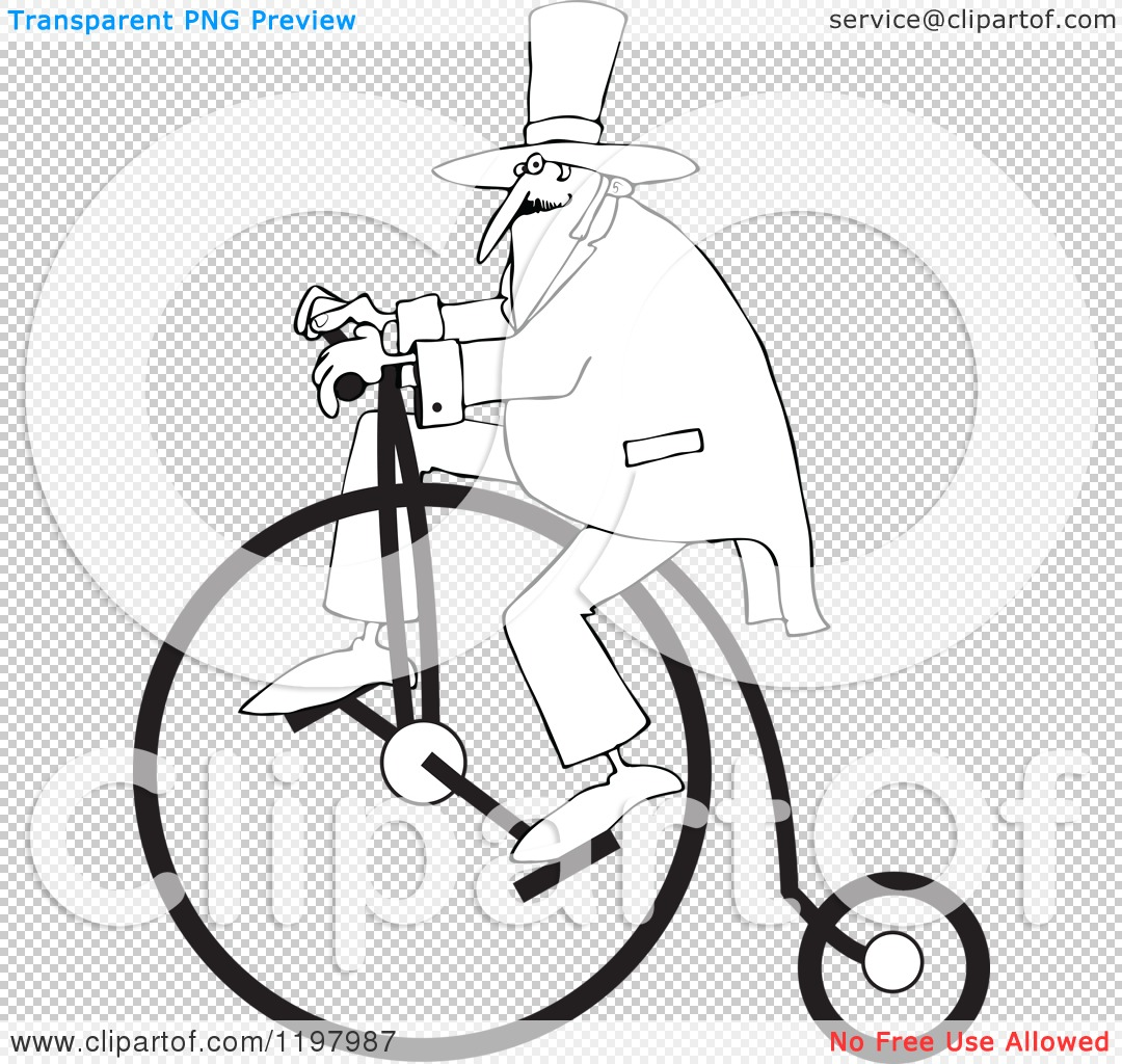 Cartoon Of An Outlined Man Wearing A Top Hat And Riding A