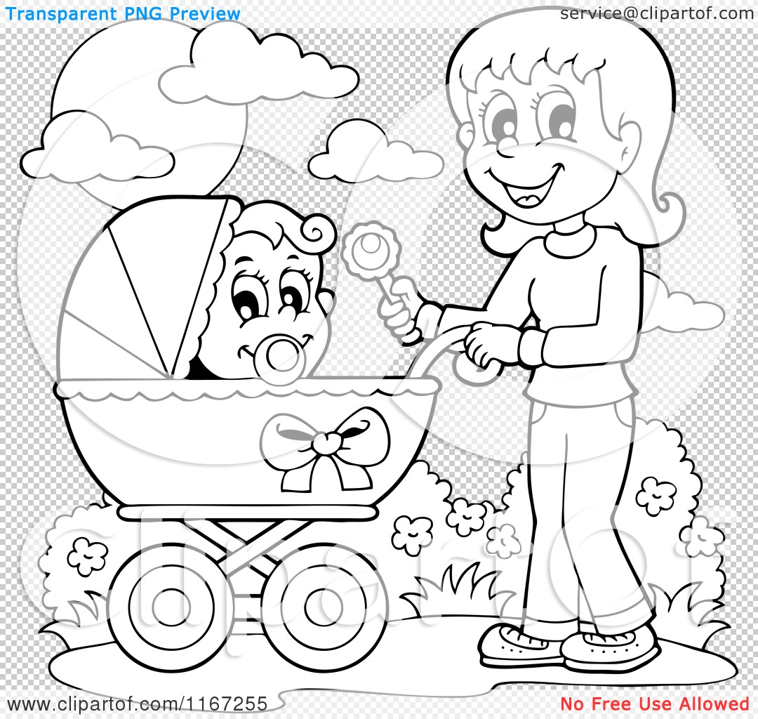 Cartoon Of An Outlined Mother Waving A Rattle And Pushing A Baby In A Stroller