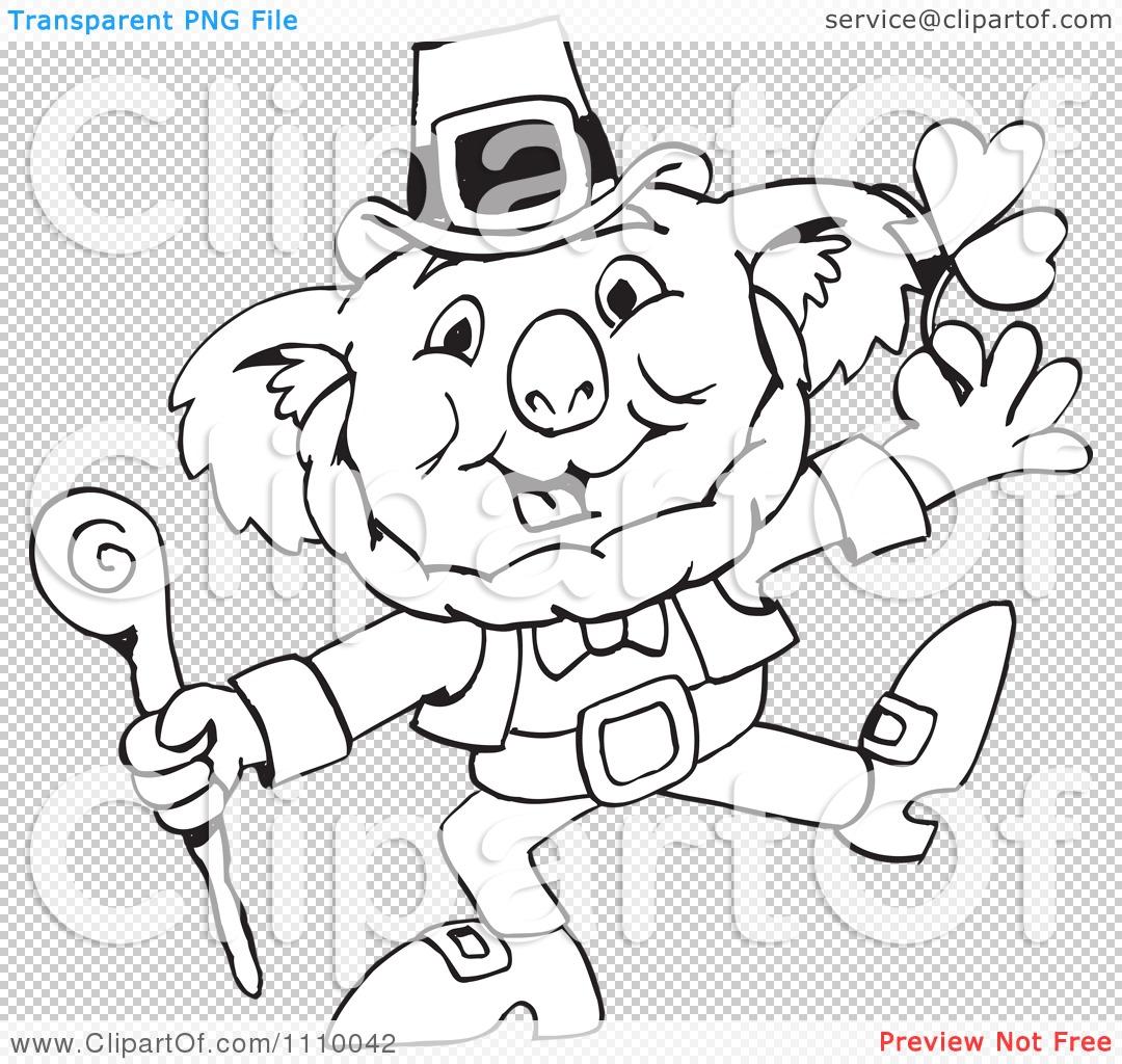 Clipart Black And White Aussie Koala St Patricks Day