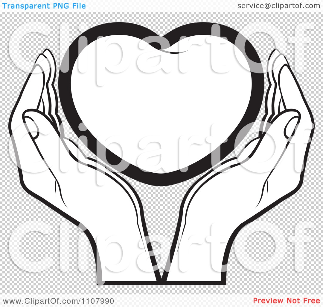 Clipart Black And White Hands Holding A Heart