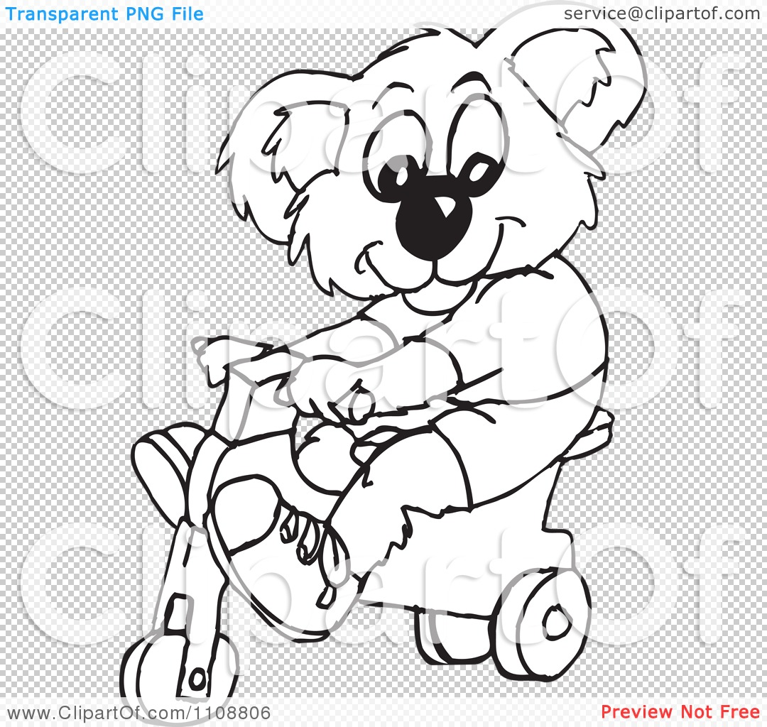 Clipart Black And White Outlined Koala Riding A Trike