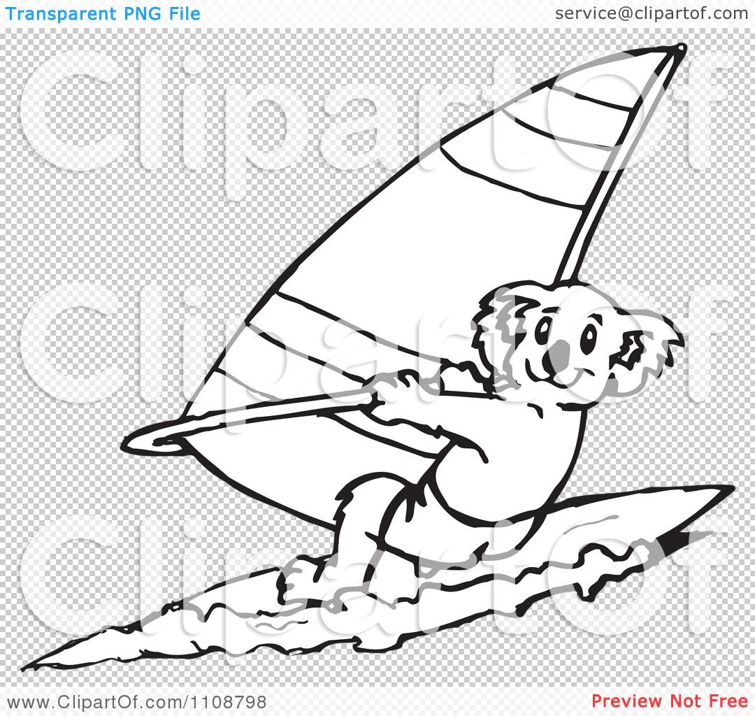 Clipart Black And White Outlined Koala Windsurfing