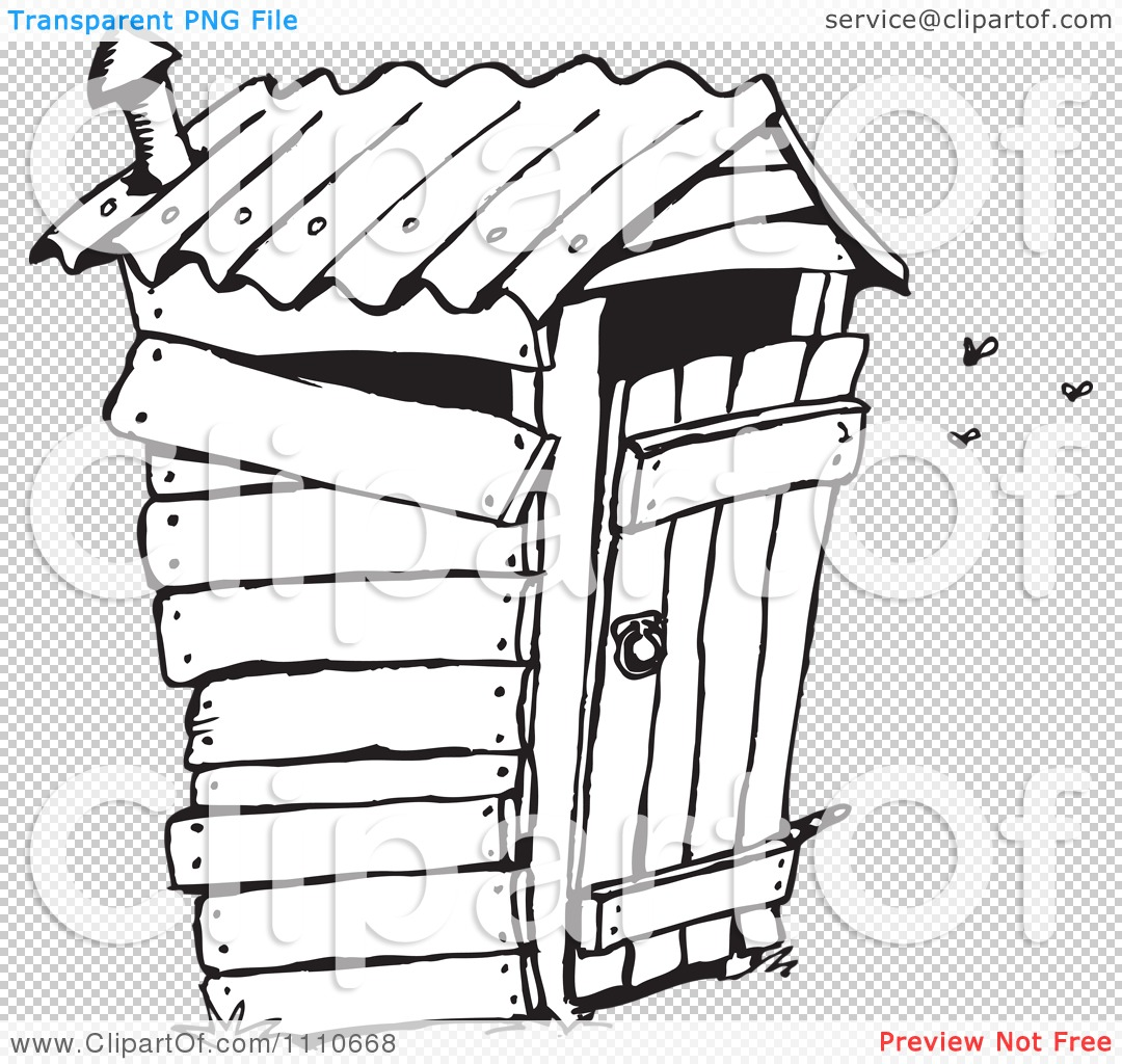 Clipart Black And White Stinky Outhouse Privy