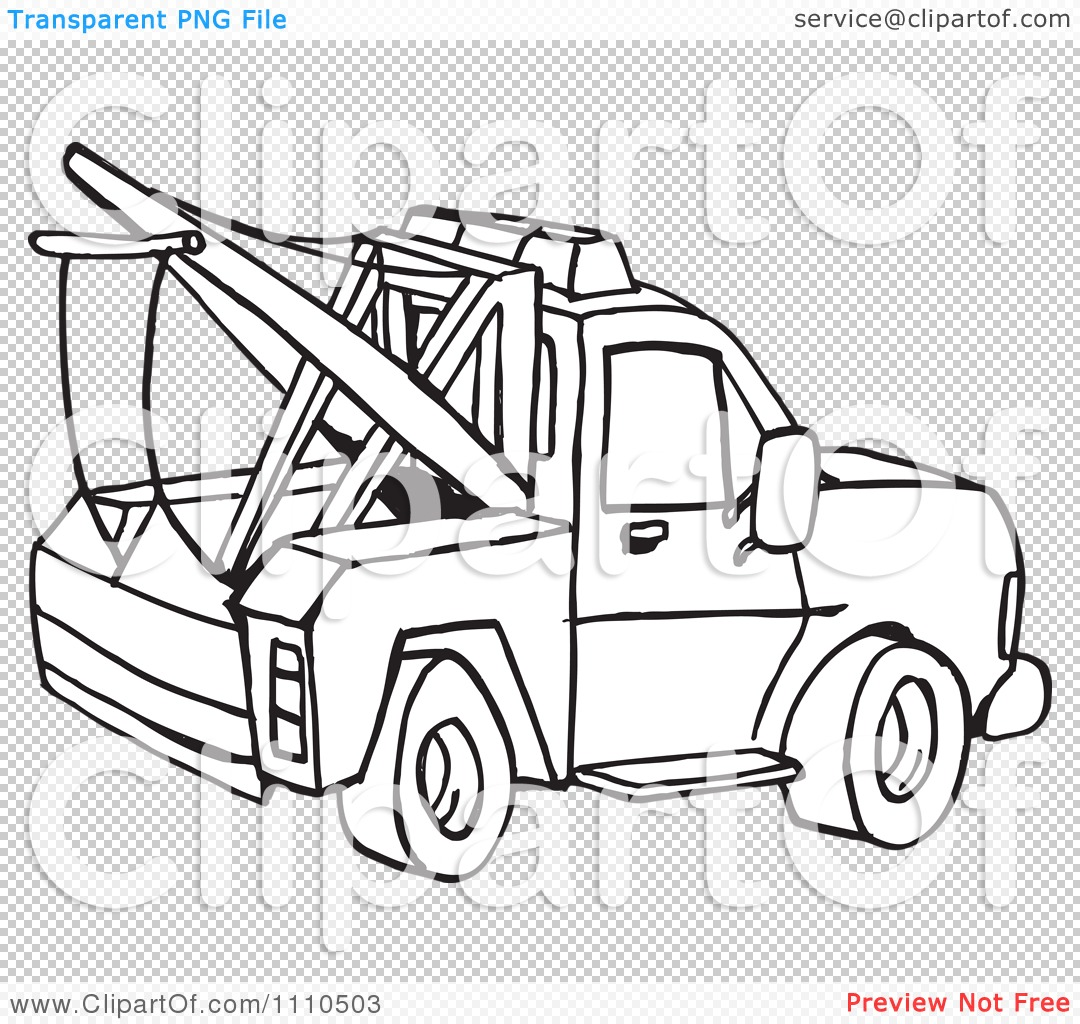 Clipart Black And White Towing Truck