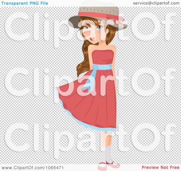 clipart flirty girl in pink dress