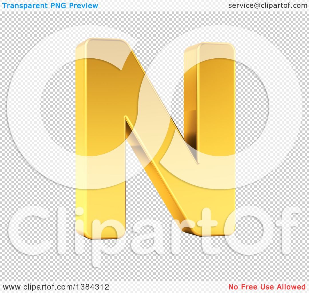 hight resolution of clipart of a 3d golden capital letter n on a shaded white