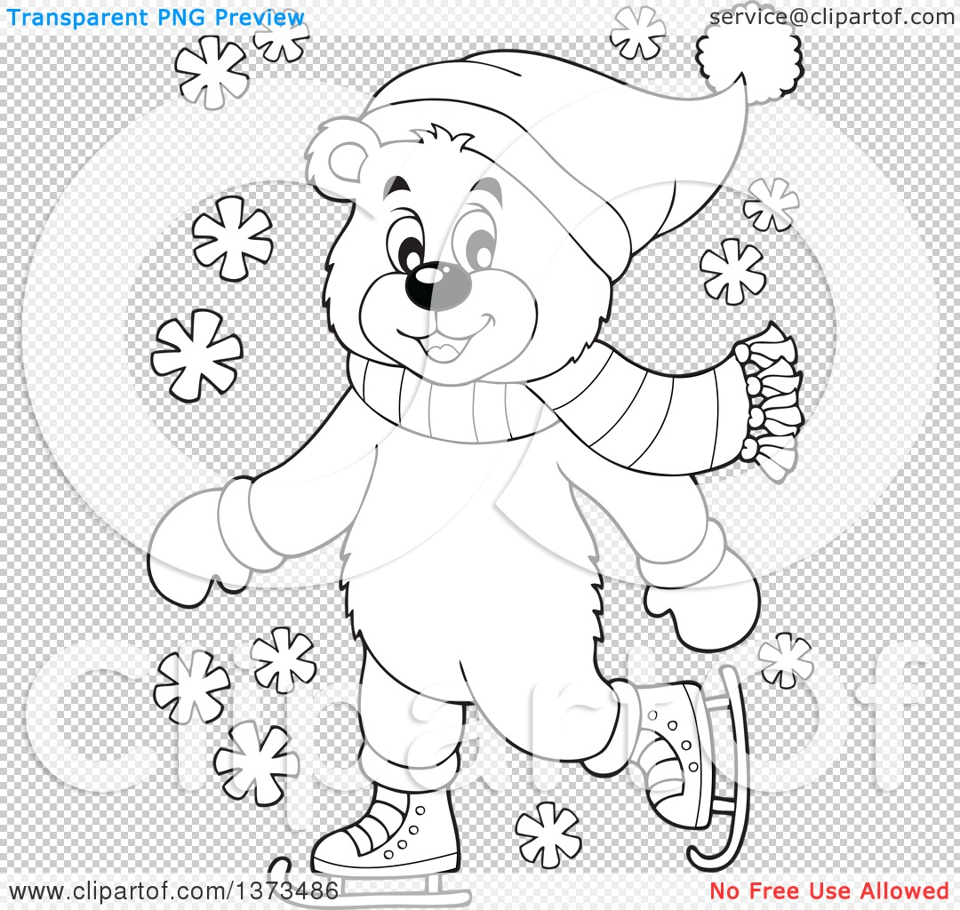 Clipart Of A Black And White Bear Ice Skating And Wearing