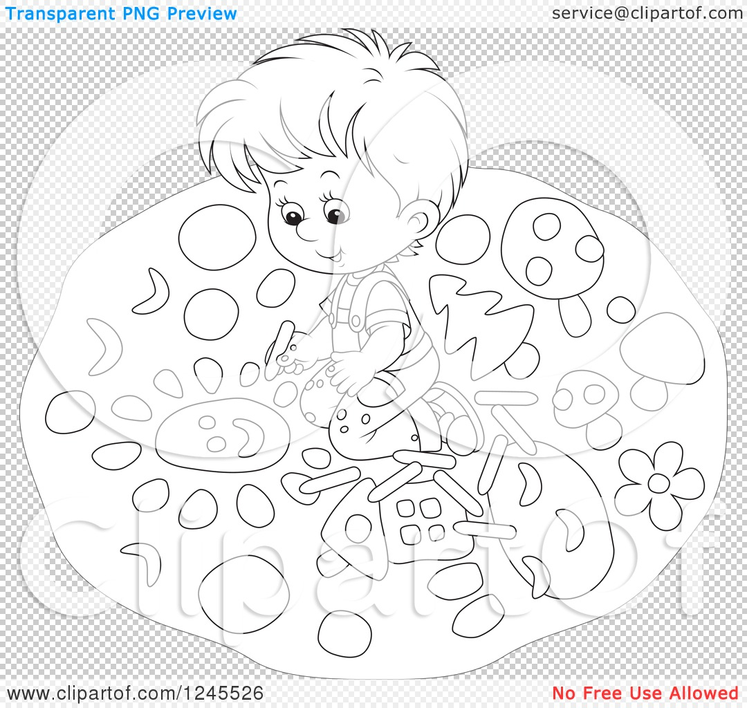 Clipart Of A Black And White Boy Drawing With Chalk On A
