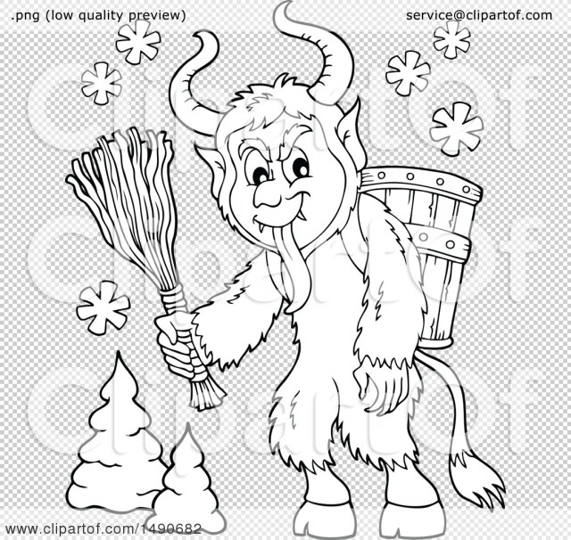 Clipart of a Black and White Demon Goat Man, Krampus - Royalty