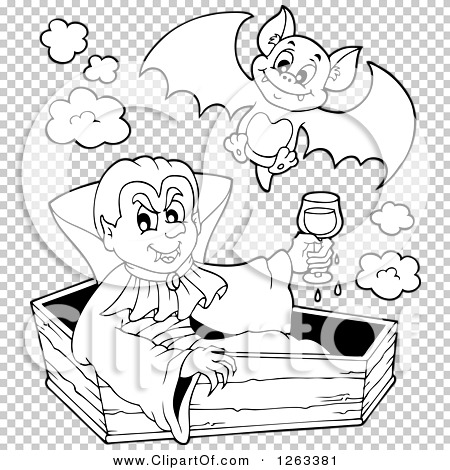 Clipart of a Black and White Dracula Vampire Sitting in a
