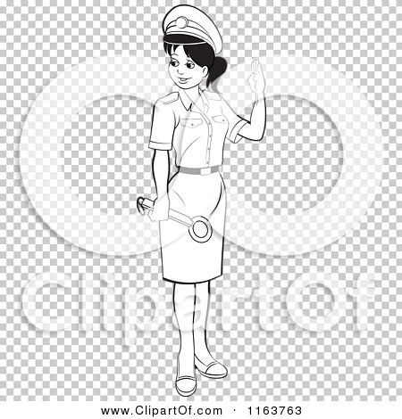 Clipart of a Black and White Female Security Guard in a