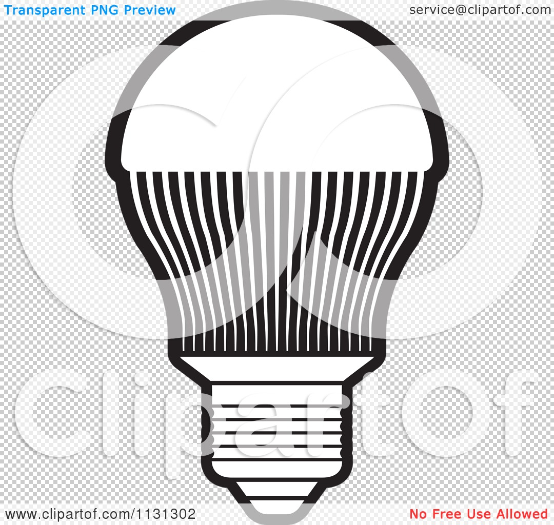 Clipart Of A Black And White Led Light Bulb