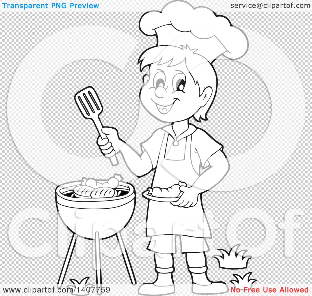 Clipart Of A Black And White Lineart Happy Boy Cooking On
