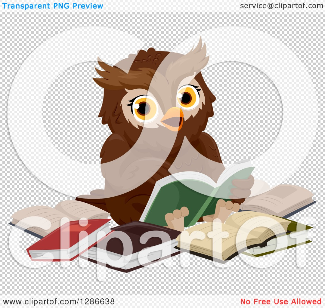 Clipart Of A Brown Owl Sitting In A Circle Of Books And Reading