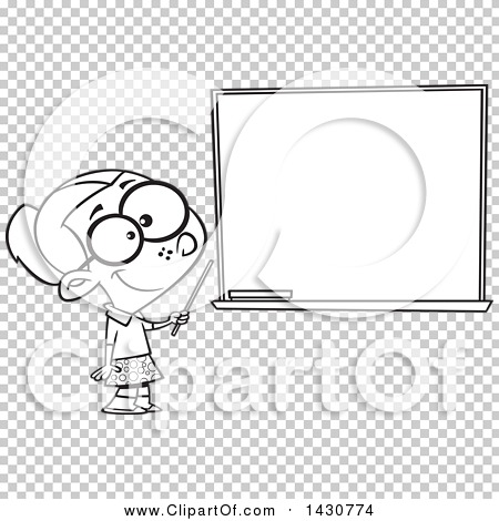 Clipart of a Cartoon Black and White Lineart School Girl