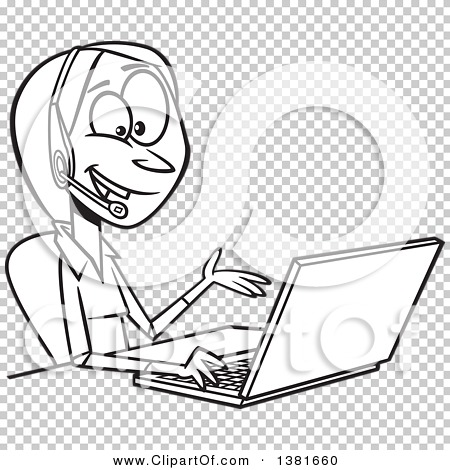Clipart of a Cartoon Black and White Woman Working on a