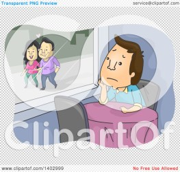 Clipart of a Cartoon Lonely Brunette White Man Sitting at a Table in a Restaurant Watching a Couple Walk Outside Royalty Free Vector Illustration by BNP Design Studio #1402999