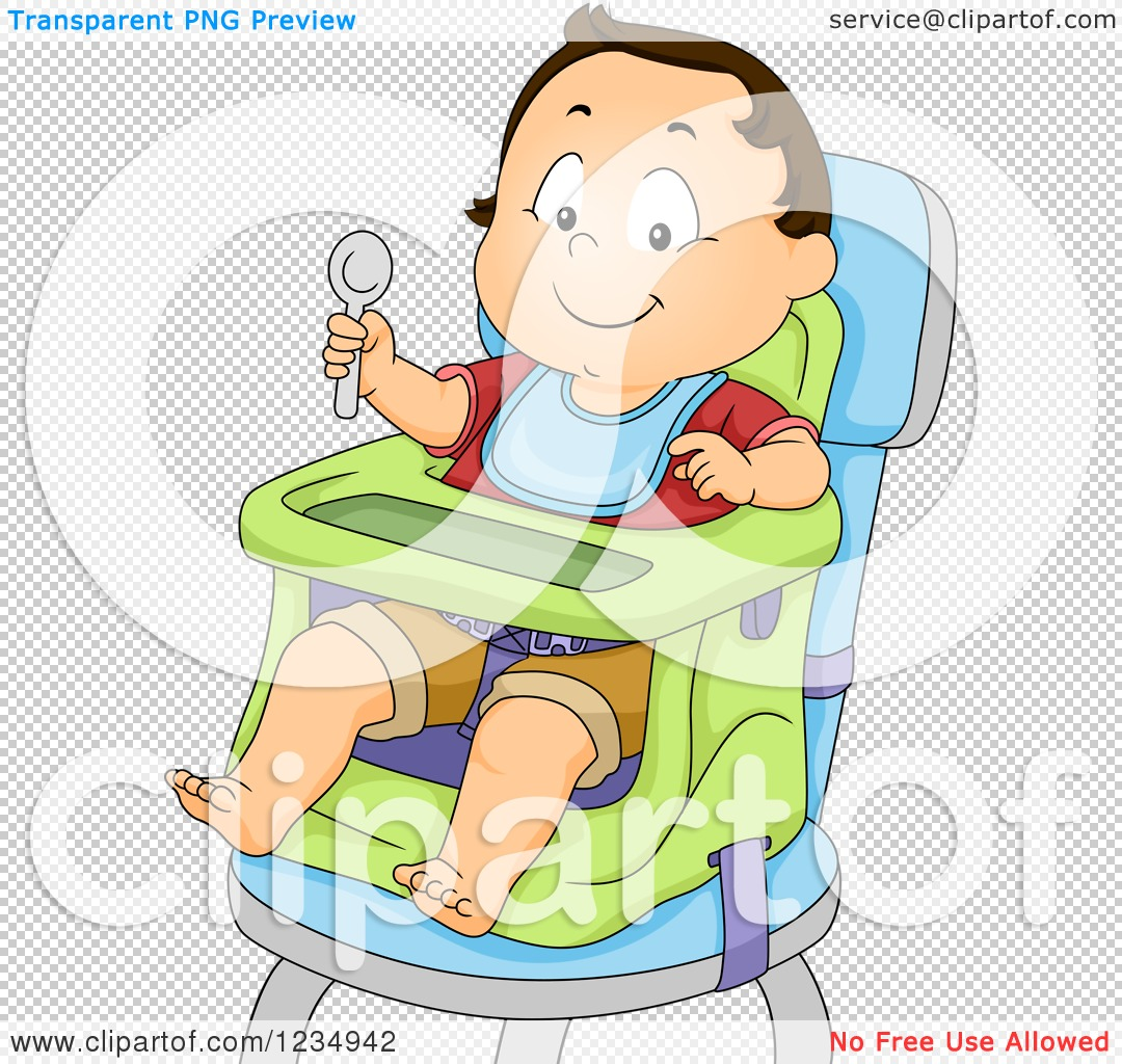 High Chair For Baby Boy Clipart Of A Caucasian Baby Boy Ready To Eat In A High