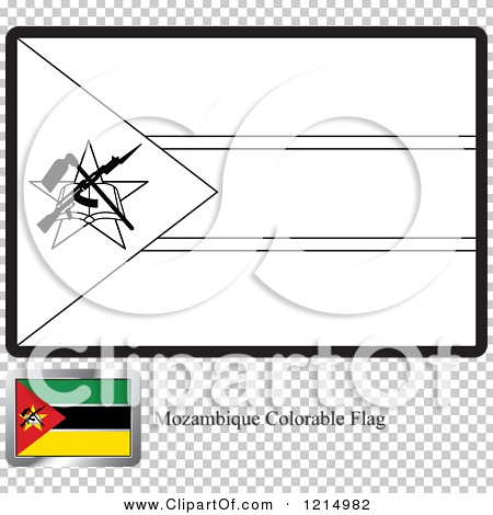 Clipart of a Coloring Page and Sample for a Mozambique