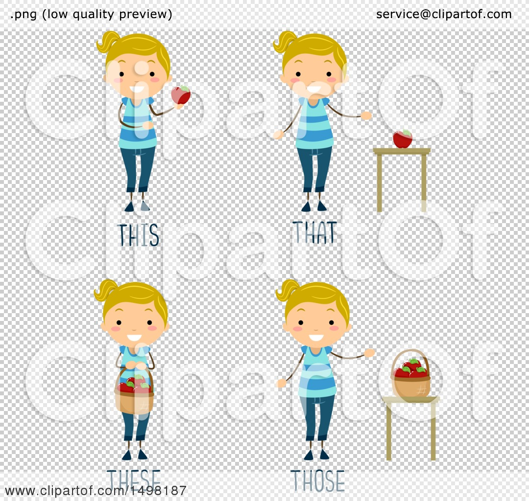 Clipart Of A Girl With This That These And Those Pronouns