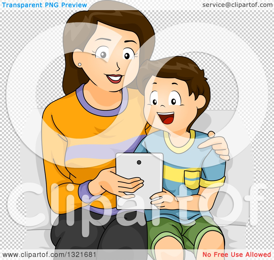 Clipart Of A Happy Brunette White Mother Sitting And Teaching Her Son How To Use A Tablet