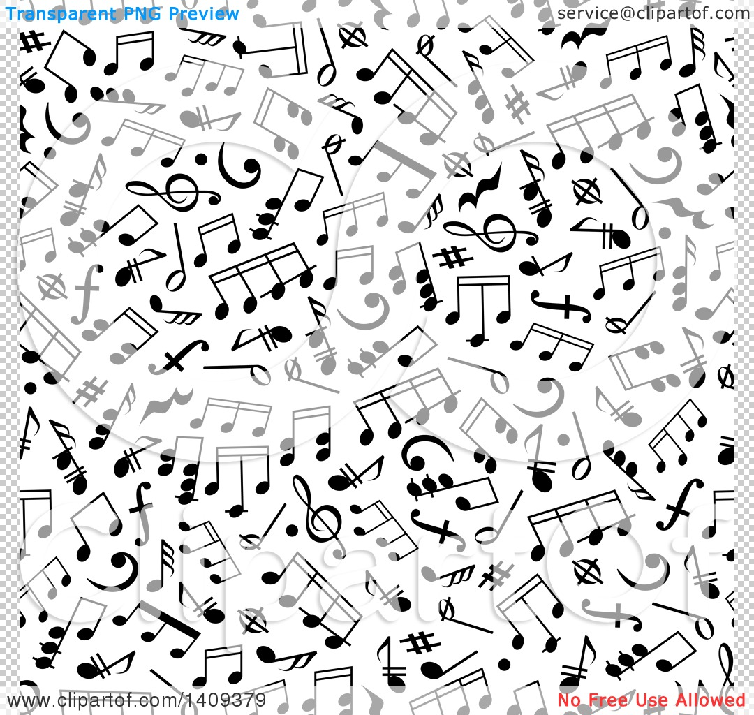 Clipart of a Seamless Background Pattern of Black Music