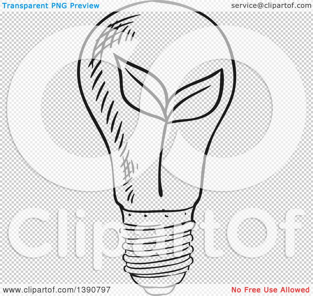 Clipart Of A Sketched Dark Gray Plant In A Light Bulb