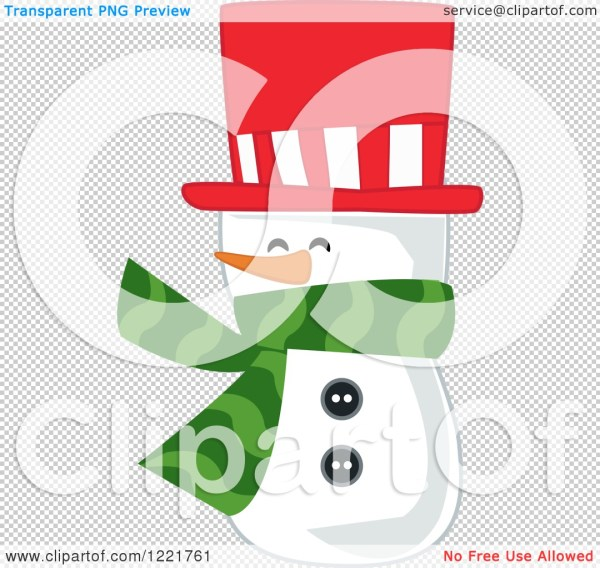 Clipart Of Snowman Wearing Red Top Hat And Green