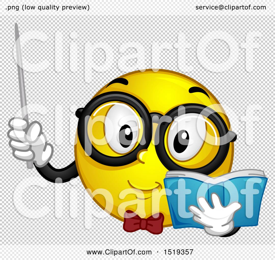Clipart Of A Yellow Smiley Emoji Teacher Holding A Pointer Stick And Book