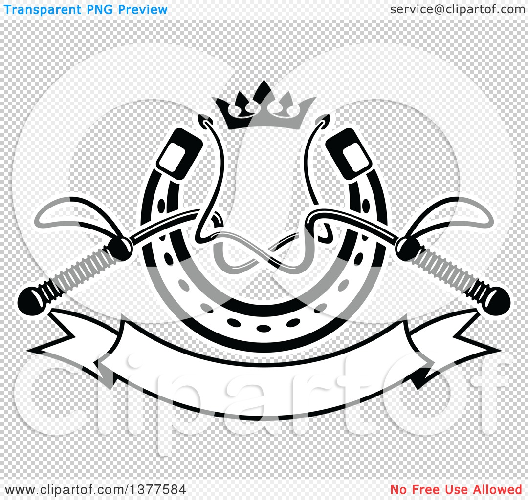 Clipart Of Black And White Equestrian Riding Crop Whips