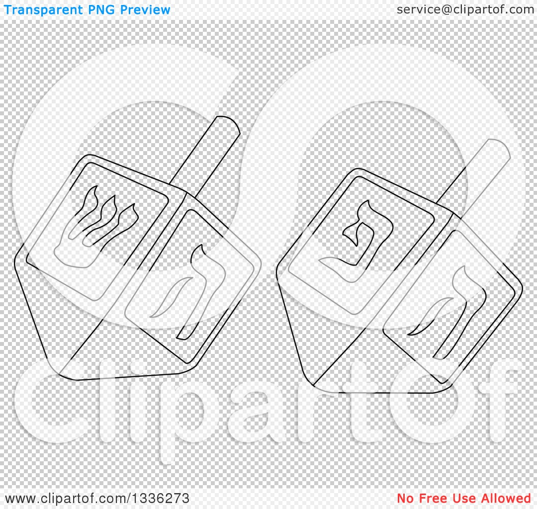 Clipart Of Black And White Hanukkah Driedels
