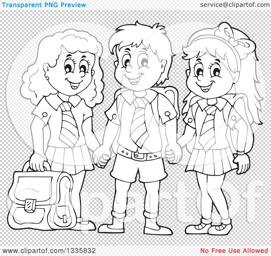 Clipart of Cartoon Black and White Happy School Children