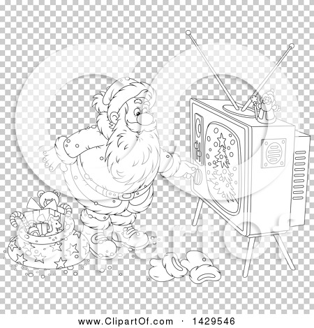 Clipart of Cartoon Black and White Lineart Santa Claus