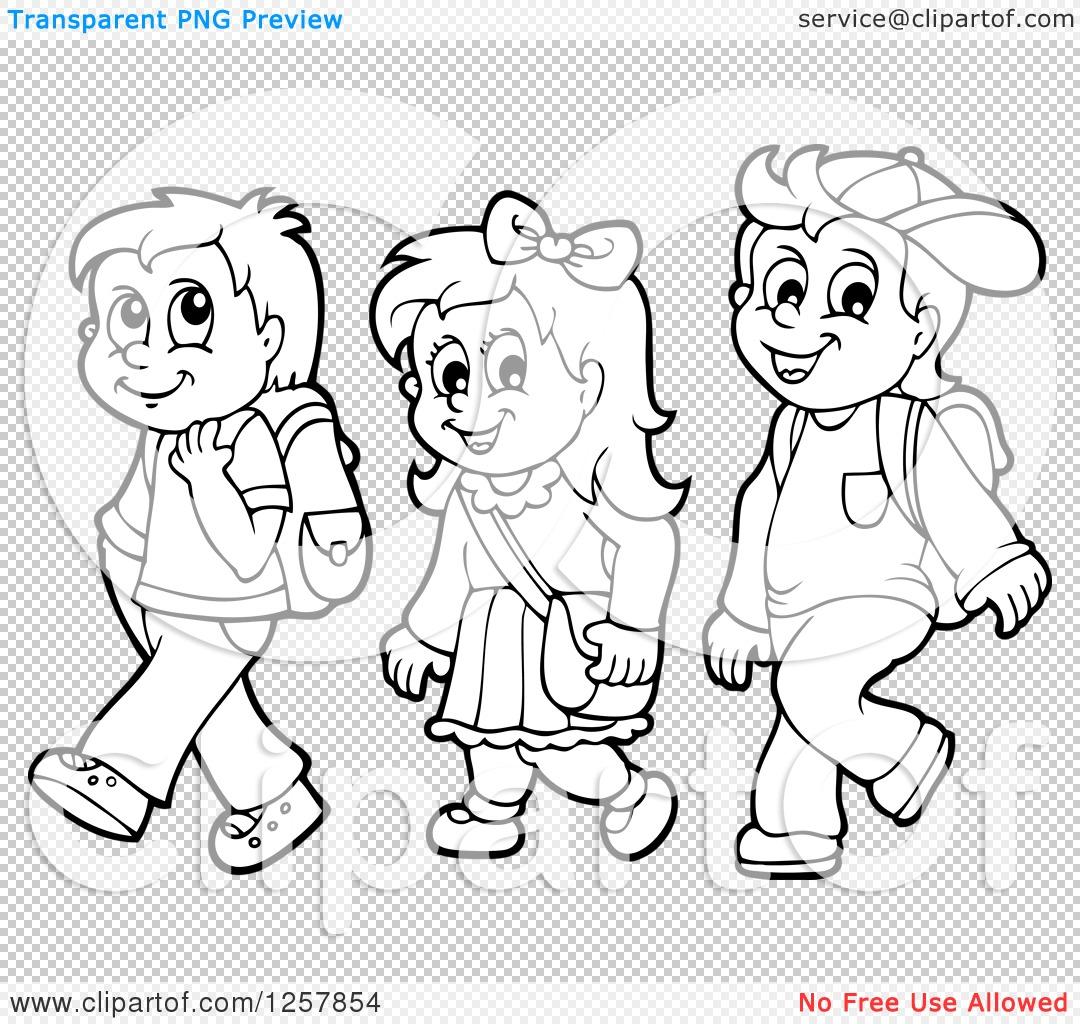 Clipart of Three Black and White Happy School Children