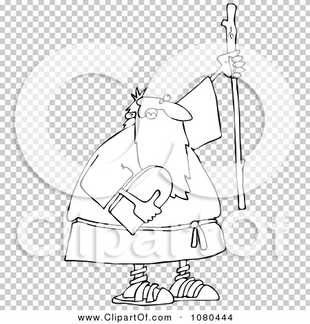 Clipart Outlined Moses Holding The Ten Commandments Tablet