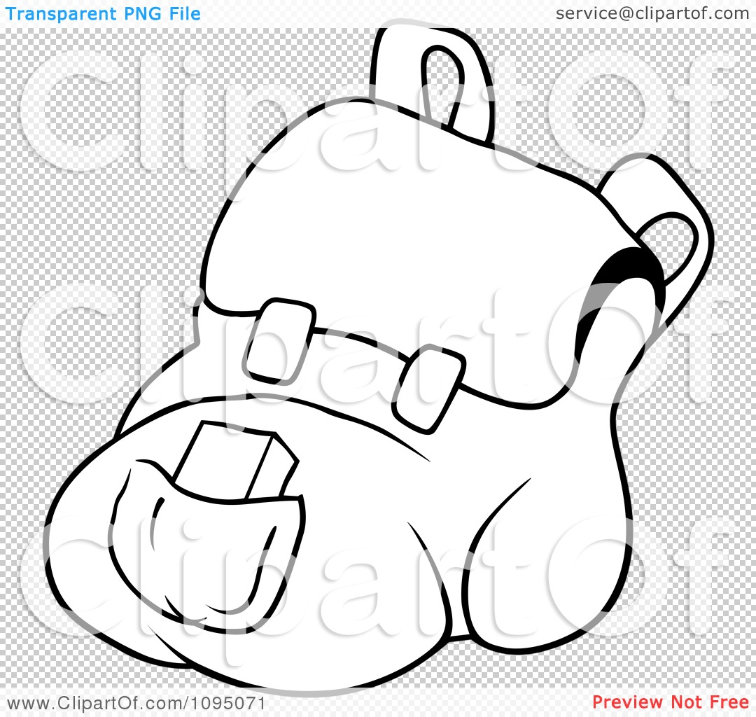 Clipart Outlined School Book Bag
