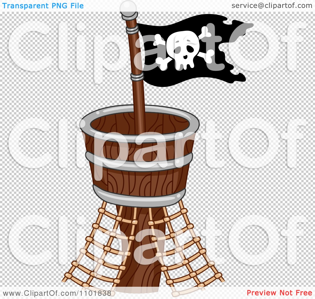 Clipart Pirate Flag On A Crows Nest Royalty Free Vector